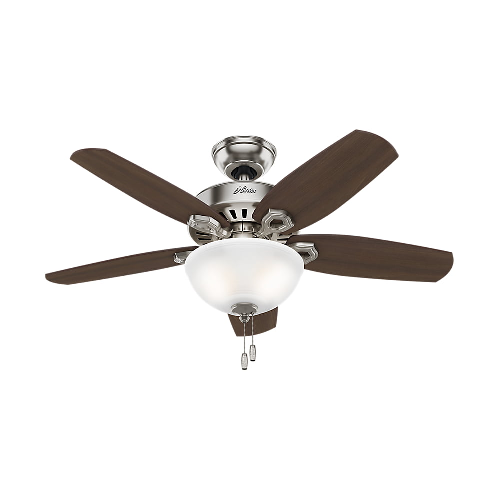 "Hunter 42"" Builder Small Room Brushed Nickel Ceiling Fan with Light by Hunter Fan Co"