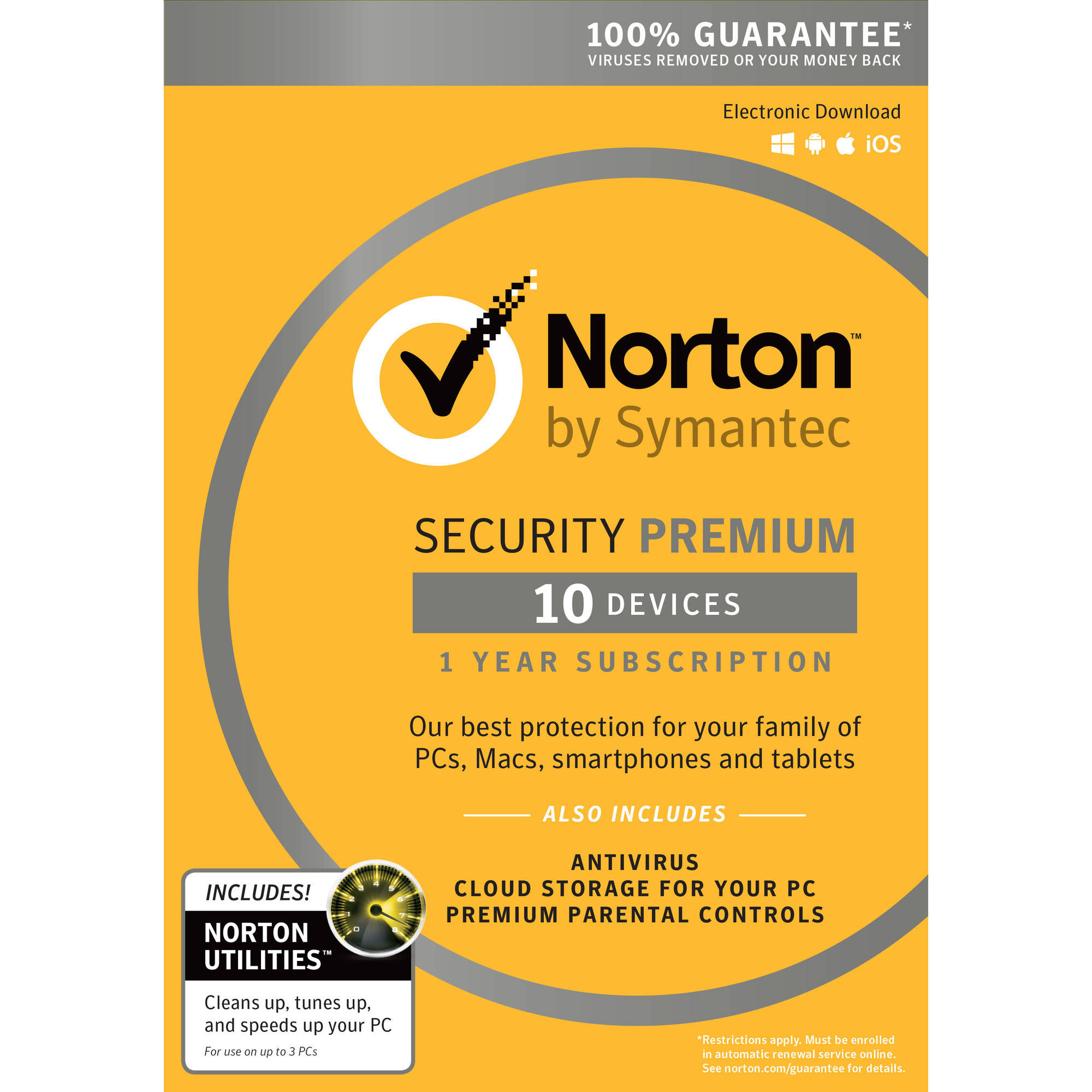 Norton Security Premium, 1 User, 10 Devices plus Norton Utilities