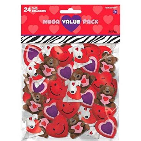 Amscan Valentine's Day 3-D Eraser Party Favor & Giveaway (24 Piece), Multicolor, 6 1/4