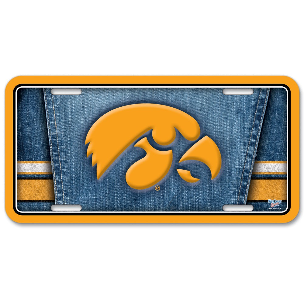 Iowa Hawkeyes Official NCAA 12 inch x 6 inch  Metal License Plate by WinCraft