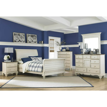 pc sleigh bedroom set in old white queen