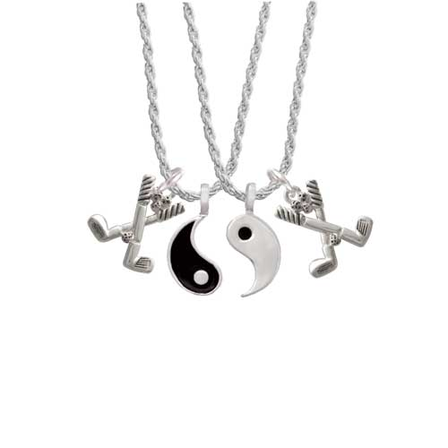 "Golf Clubs with Golf Ball Yin Yang Necklace Set, 20""+3"" by Delight and Co."