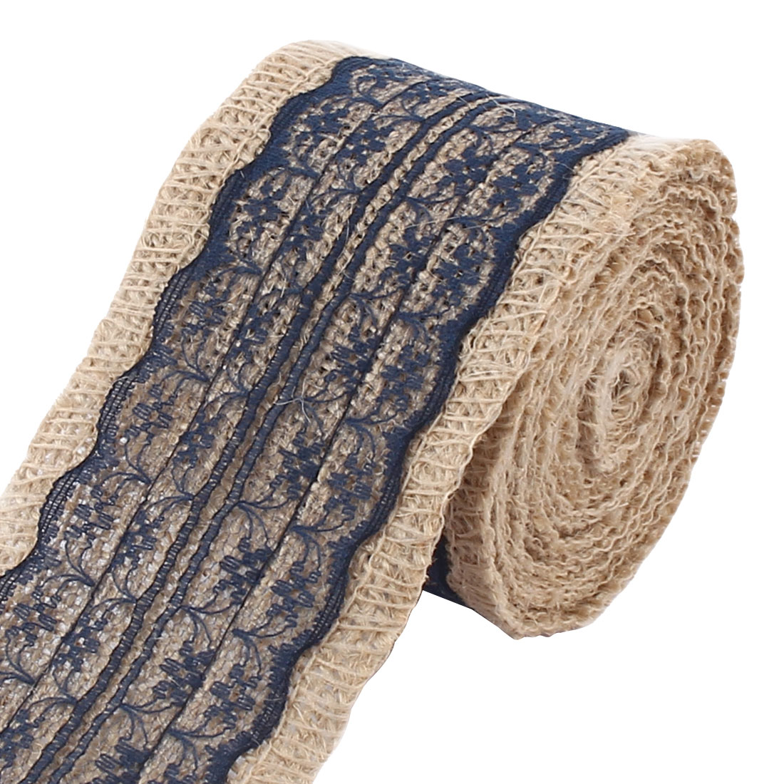 Unique Bargains Christmas Burlap DIY Gift Wrapping Packing Craft Ribbon Roll Tape Navy Blue