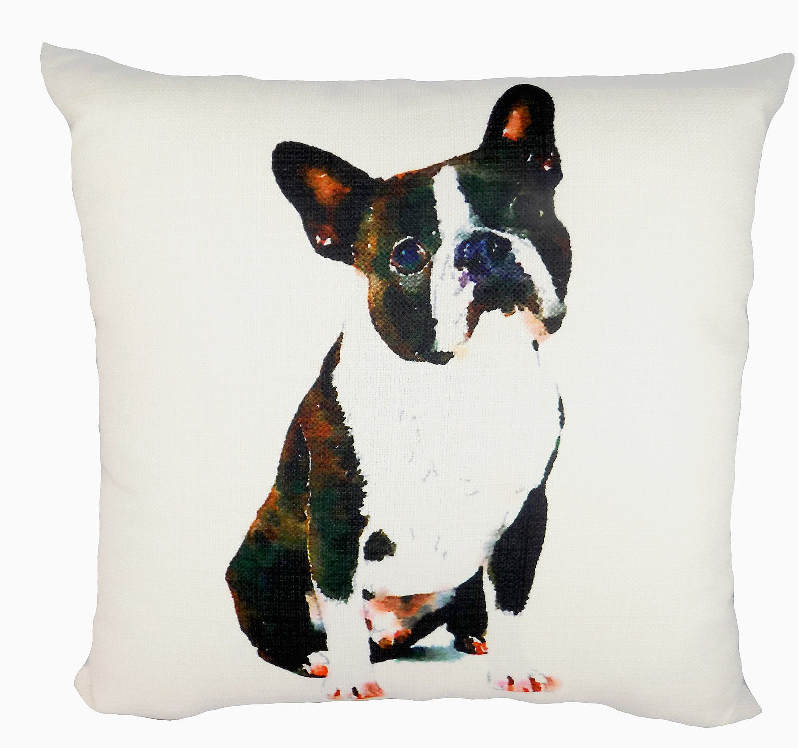 "The Little Birdie Boston Terrier K9 16"" x 16"" Creative Square Pillow Made in USA"