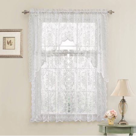 Country Chic Complete Floral Lace Kitchen Curtain Tier & Swag Valance Set - White