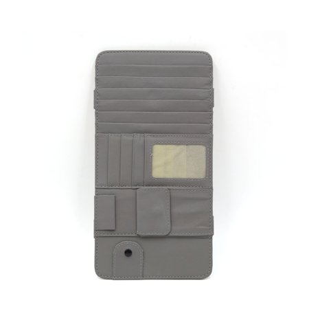 7 CD Slots 4 Credit Cards Pockets PU Leather Car Sun Visor Organizer Gray