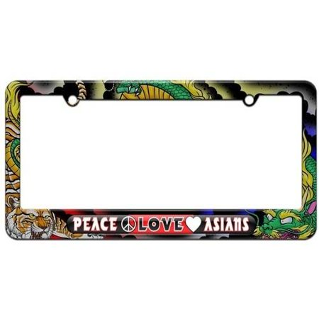 Peace Love Asians License Plate Tag Frame, Dragon and Tiger Tattoo (The Best Tiger Tattoo Designs)