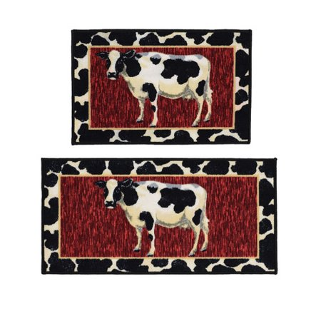Madison Home Cow 2 Piece Black/Red Novelty Rug Set