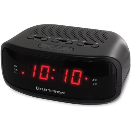 electrohome digital am fm clock radio with battery backup dual alarm sleep snooze functions. Black Bedroom Furniture Sets. Home Design Ideas