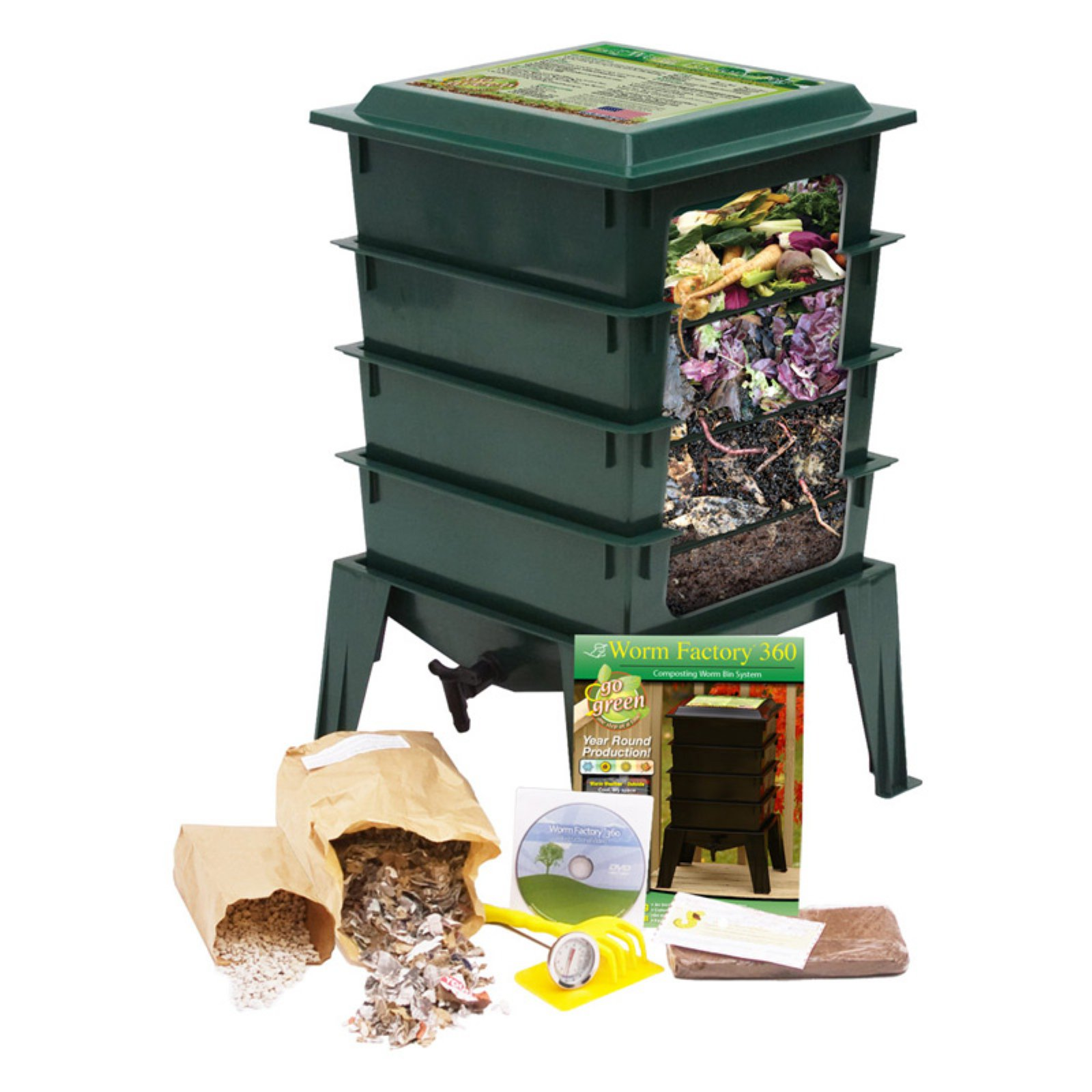 The Worm Factory® 360 Recycled Plastic Worm Composter - Green
