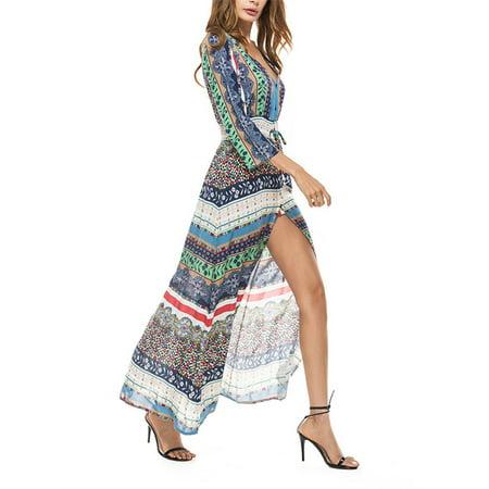 Bohemian Women Long Sleeve Print Chiffon Long Maxi Dress