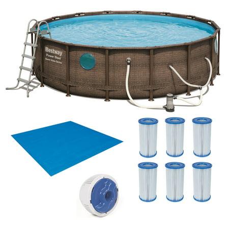 Bestway Power Steel Swim Vista 16x4 Foot Swimming Pool Set with Accessories