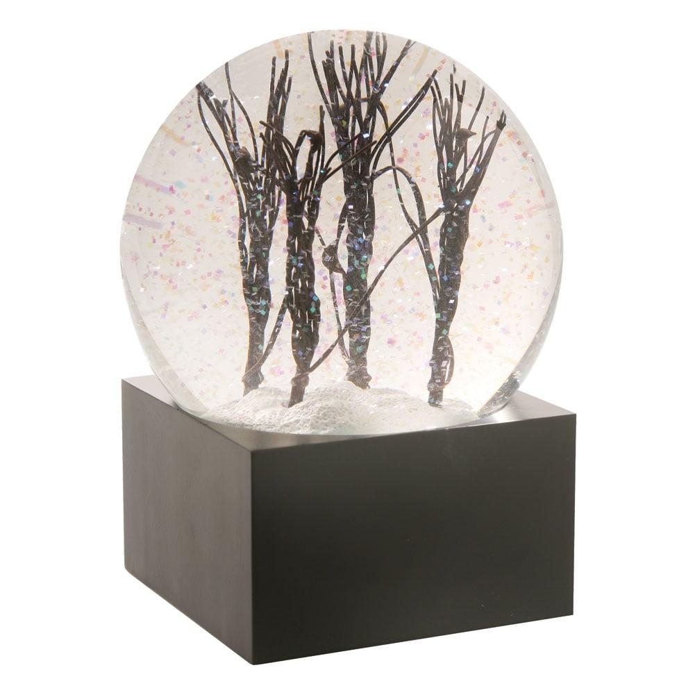 Snowy Black Tree Branches Decorative Snow Globe- Led Light Up