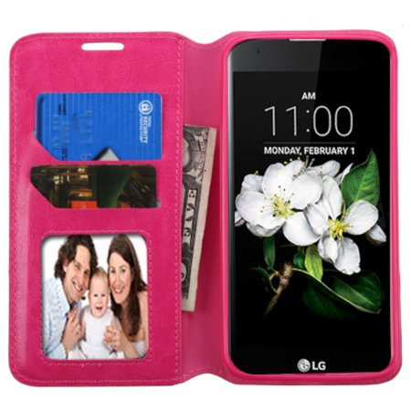 Insten Flip Leather Fabric Case w/stand/card holder/Photo Display For LG K7/K8 - Hot Pink - image 2 of 4