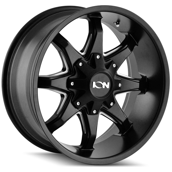 "18"" Inch Ion 181 18x9 6x135/6x139.7(6x5.5"") 18mm Black/Milled Wheel Rim"