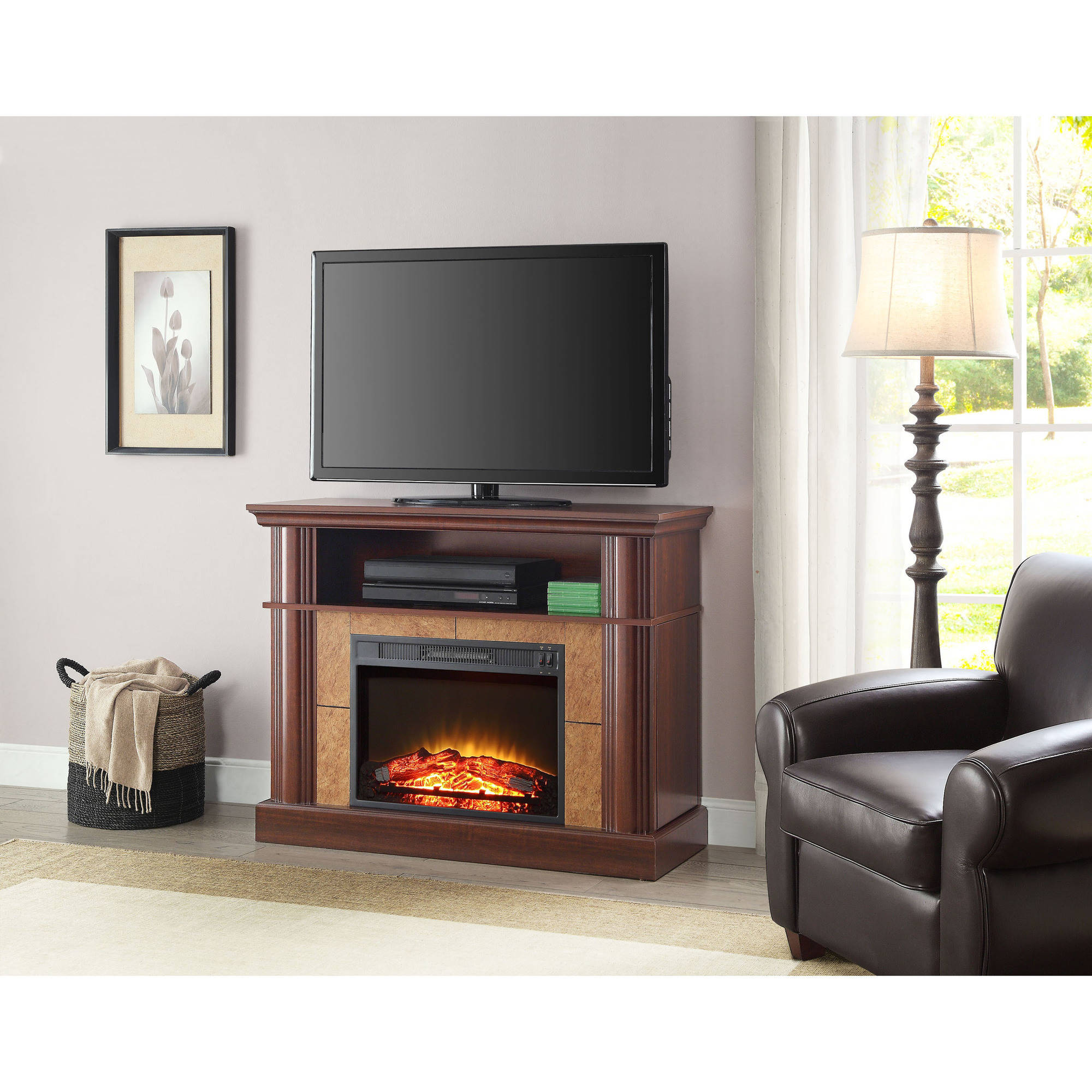 Ameriwood Home Lytton Electric Fireplace Accent Table Tv Stand For