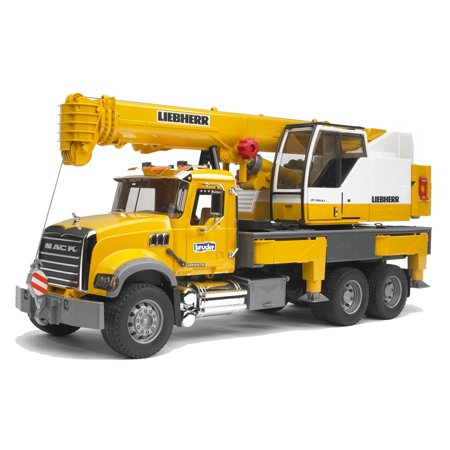 Bruder Toys Mack Granite Liebherr Scale 1:16 Functional Toy Crane Truck | 02818 - Mack Truck Hats