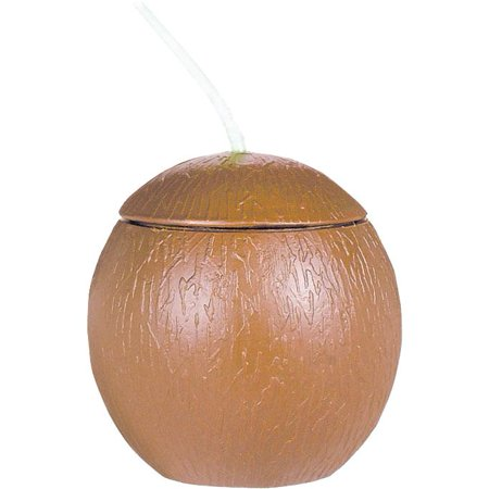 Amscan BB399941 Coconut Shaped Cup with Straw 18Oz](Coconut Cup)