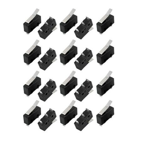 20Pcs AC250/125V 3A 3P 18mm Momentanée Micro-Interrupteur Bras levier12-12 KW Noir - image 3 de 3
