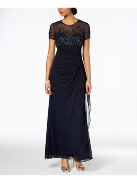 Petite Ruched Beaded Column Gown