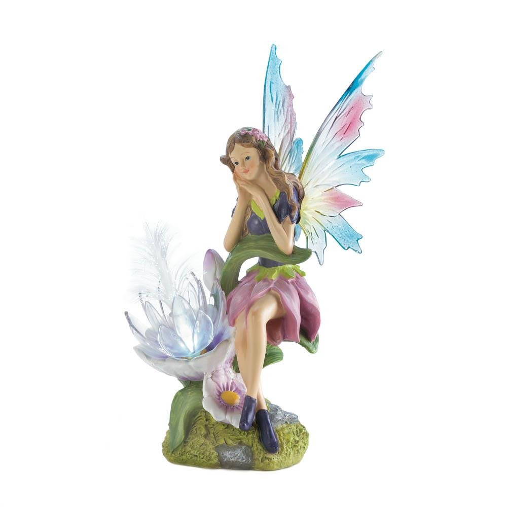 Gothic Fairy Figurines, Fairies Garden Miniature Solar Powered Outdoor  Statue