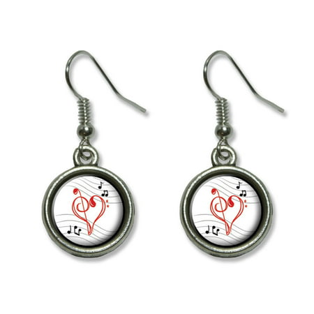 - Treble Bass Clef Heart - Music Dangling Drop Earrings