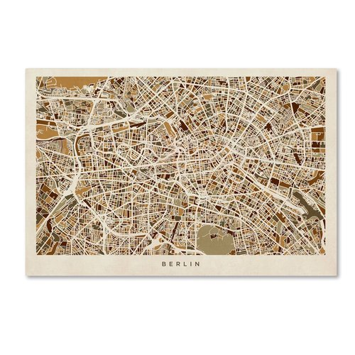 "Trademark Fine Art ""Berlin Germany Street Map"" Canvas Art by Michael Tompsett"