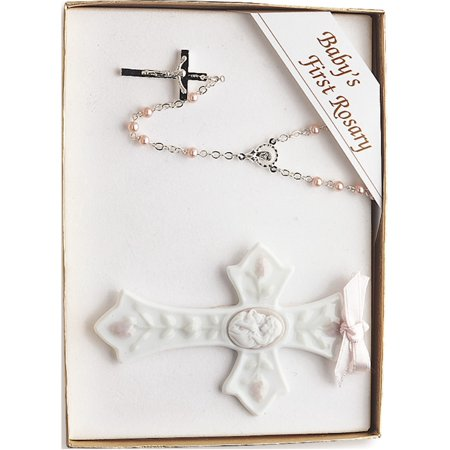 Porcelain And Silver-Plated Girls Rosary And Cross Set Designer Jewelry by Sweet Pea