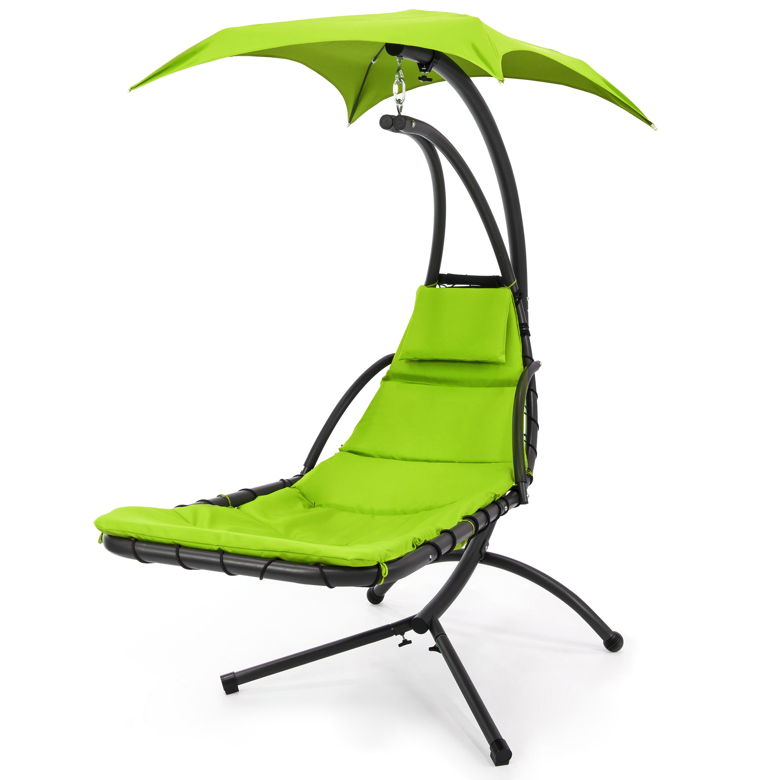 Best Choice Products Hanging Chaise Lounger Chair Arc Stand Air Porch Swing  Hammock Chair Canopy (Orange)   Walmart.com
