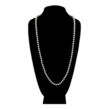 White Glass Knotted Faux Pearl Strand 6mm Beaded 36