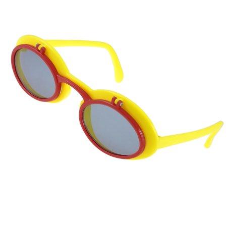 Yellow Plastic Frame Sunglasses : Yellow Crimson Plastic Ellipse Shape Frame Flip up ...