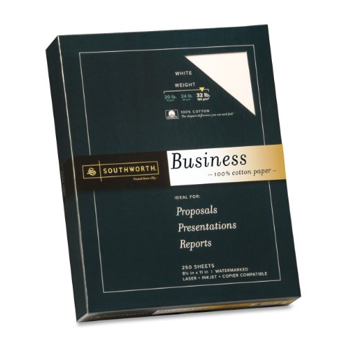 """Southworth Premium Weight 100% Business Cotton Paper - For Laser Print - Letter - 8.50"""" X 11"""" - 32 Lb - Recycled - Wove - 250 / Box - White (JD18C)"""