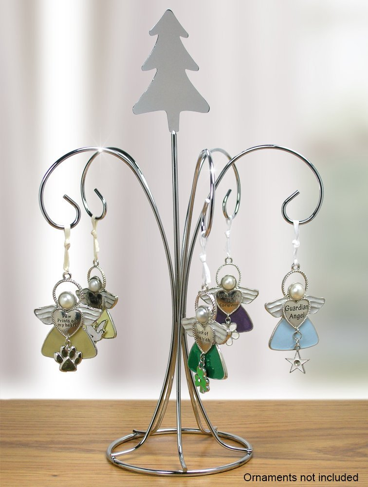 Chrome Metal Wire Christmas Ornament Tree Stand with Tree Topper and 5  Hanging Arms, CHRISTMAS ORNAMENT STAND with 5 hanging hooks for ornaments  and a.., ... - Chrome Metal Wire Christmas Ornament Tree Stand With Tree Topper And