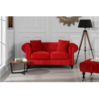 New Classic Modern Scroll Arm Velvet Chesterfield Love Seat Sofa (Black)