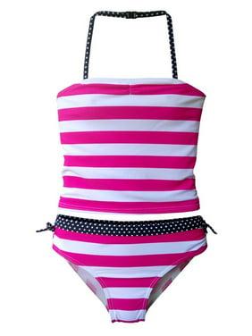 1d02c4d8e0 Free shipping. Product Image Starfish Big Girls Pink White Stripe Print  Tankini Top 2 Pc Swimsuit