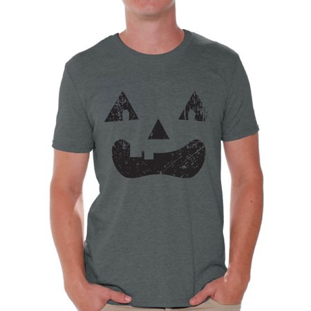Awkward Styles Trick or Treat Face Tshirt for Men Halloween Shirt Pumpkin Face Men's Shirt Trick or Treat Outfit Halloween Party T Shirt Day of the Dead Shirts for Men Dia de los Muertos Gifts (Halloween Outfits For Men)
