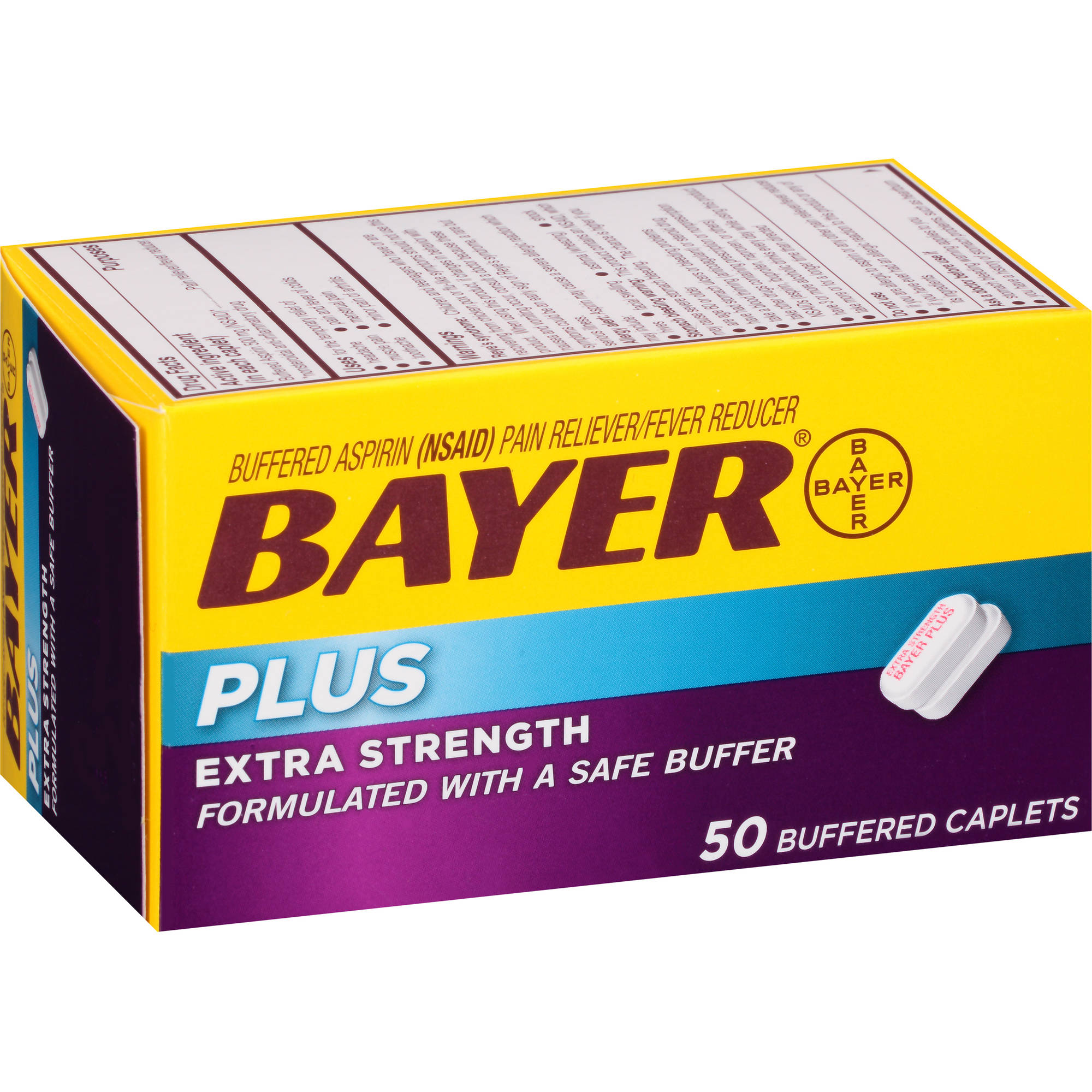 Bayer Plus Extra Strength Aspirin Pain Reliever/Fever Reducer Buffered Caplets, 50 count