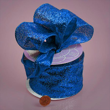 Royal Blue Sparkle Glitter 2-1/2 inches x 10 yards Wired Fabric Solid Ribbon