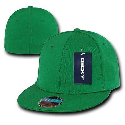 Kelly Green Blank Solid Flex Retro Flat Bill Fit Fitted Golf Baseball Cap Hat (Green Golf Hat)