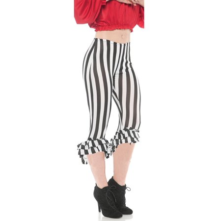 Ruffle Womens Adult Black White Pirate Buccaneer Costume Leggings - Women Pirate Costumes