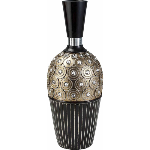 """Ore 16.25"""" Traditional Black and Gold Decorative Vase"""