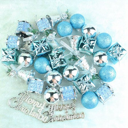 Fancyleo 32PCS Christmas Tree Mix Light Blue Ornaments Shatterproof Home Decor Light Xmas Ornament