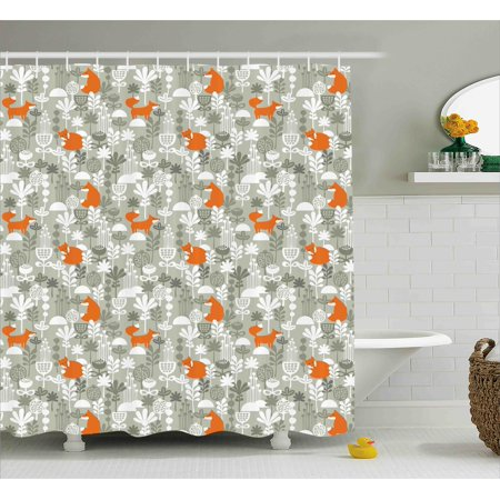 orange and grey shower curtain. Fox Shower Curtain  In The Winter Forest Abstract Cartoon Trees And Nature Animal Decor