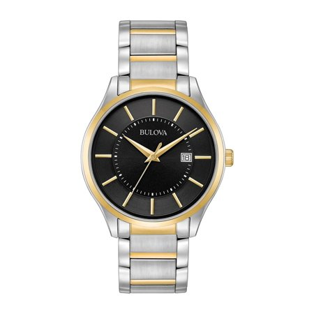 Bulova Men's Two-Tone Black Dial Watch