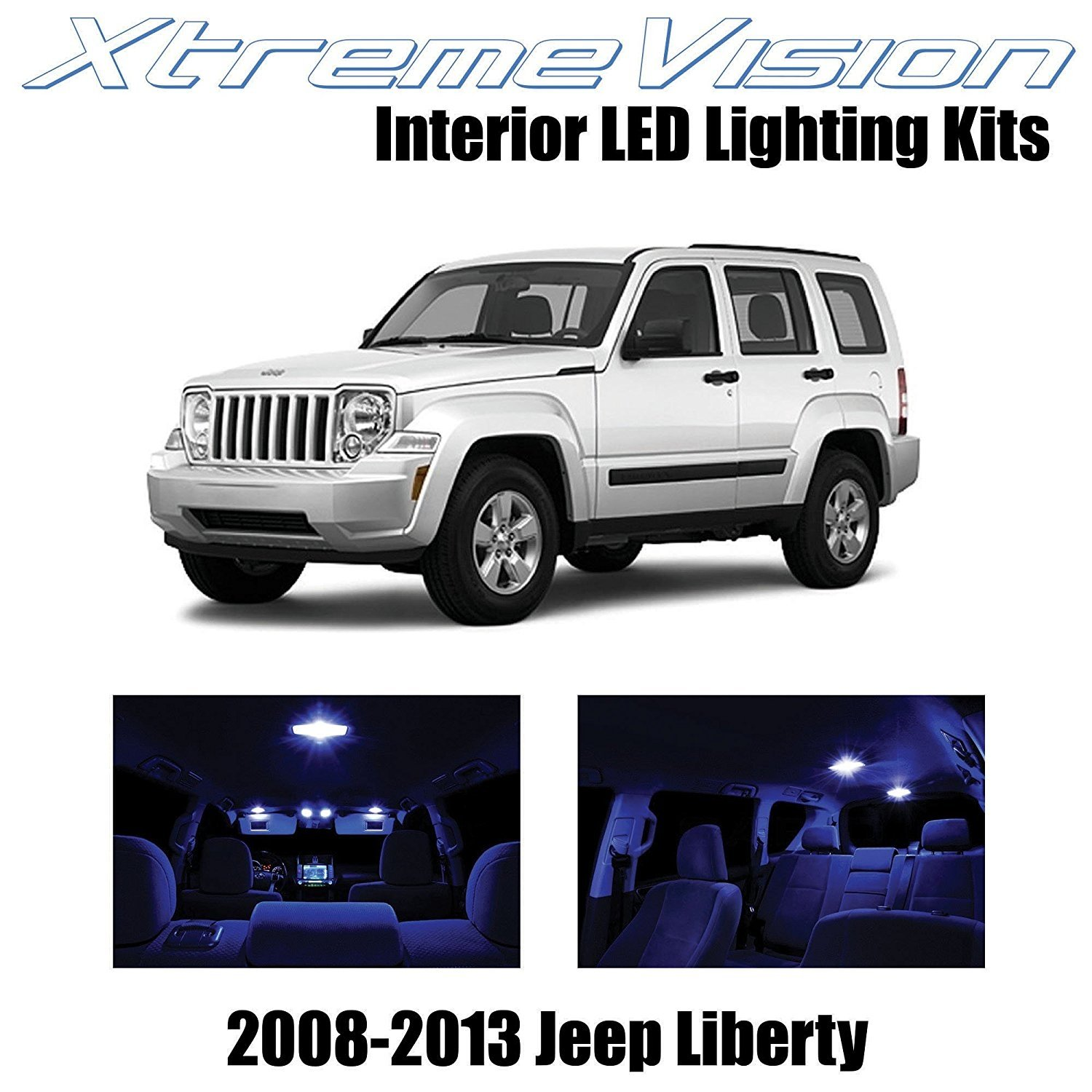XtremeVision LED for Jeep Liberty 2008-2013 (9 Pieces) Blue Premium Interior LED Kit Package + Installation Tool Tool
