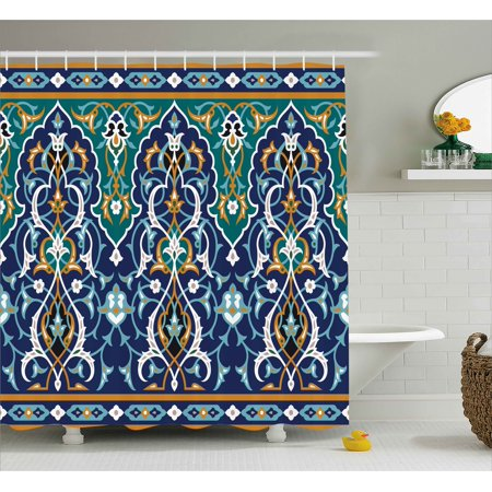 Moroccan Shower Curtain, Ethnic Oriental Figure Petals Hippie Vintage Tribal Mosaic Design, Fabric Bathroom Set with Hooks, Blue Mustard, by Ambesonne