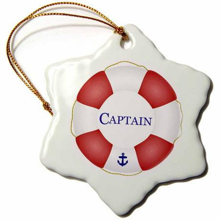 Fisherman Yacht (3dRose Captain lifesaver - ship life preserver - nautical boat ocean sailing - yacht sailor - sea fisherman - Snowflake Ornament, 3-inch)