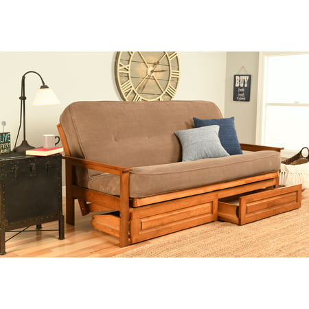 Image of Albany Futon with storage in Barbados Finish, Multiple ColorsMarmont Mocha Mattress-Storage Drawers