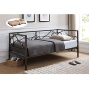 vegas dark pewter metal day bed frame with black roll out trundle twin size