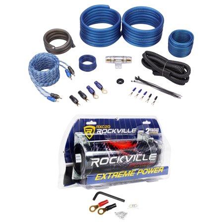 Rockville RXC2D 2 Farad Stiffening Capacitor + Rockvile RWK41 4 AWG Amp Kit 4 Awg Amp Kit